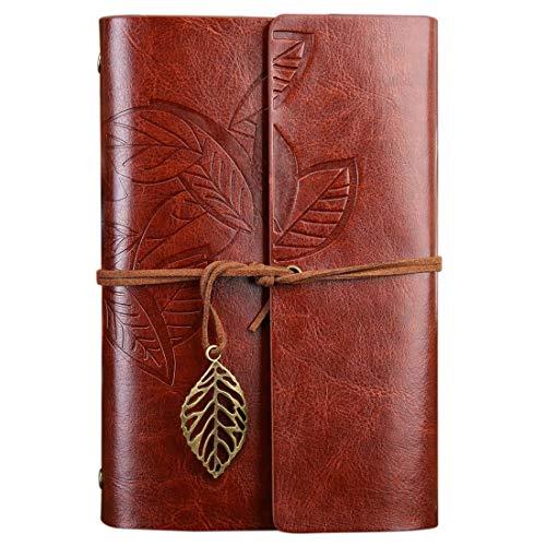 FNMYH Cuadernos Hojas de otoño Retro Creativo Patrón de Hojas Sueltas Cuaderno del Diario de Viaje para la Oficina de la Oficina, etc, tamaño: s (Color : Brown)