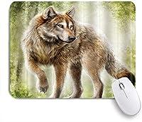 MISCERY マウスパッド アニマルグリーンジャングルとゴールデンウルフ 高級感 おしゃれ 防水 端ステッチ 耐久性が良い 滑らかな表面 滑り止めゴム底 24cmx20cm