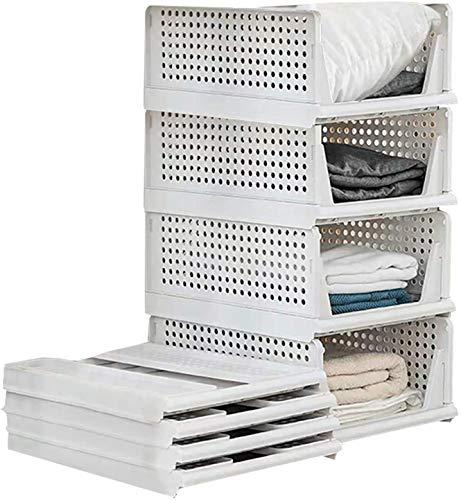 Set di 4 scatole impilabili per guardaroba, in plastica, per armadi e cassetti, adatte per la casa, la camera da letto e la cucina