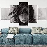 Cuadros en lienzo 5 piezas Pinturas decorativas para el hogar Lightning Returns Minimalismo Arte de la pared Impresiones Póster Ho-150X80Cm (enmarcado)