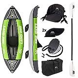 Kayak in PVC gonfiabile di alta qualità in un set all-inclusive - ideale per principianti ed esperti per utilizzo su fiumi e laghi; Sedile per kayak regolabile con schienale e diverse tasche