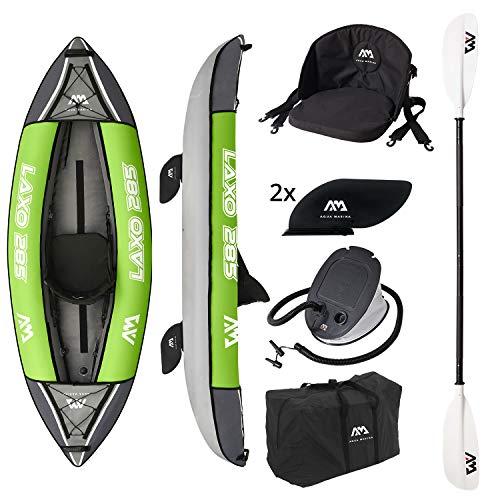 AM AQUA MARINA Set de Kayac Inflable LAXO-285 2020 9'4'' 1 Persona Canoa Piragua, Bomba, Bolsa 285 x 95 cm Verde/Negro