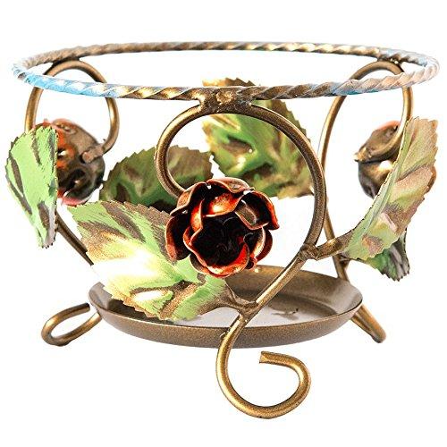 Pot portapiante en fer forgé décoré à la main 17 cm-MADE IN ITALYa