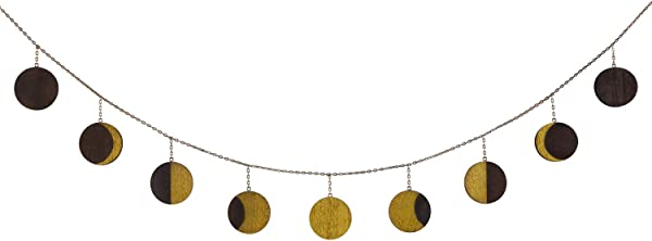 Mkono Moon Phase Garland With Chains Celestial Wall Phases Boho Chic Bohemian Wall Decor Apartment Dorm Office Nursery Living Room Bedroom Decorative Wall Art Gold