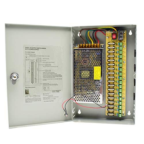Weishuo Alimentatore CCTV 18 Canali Uscita 12V 10A 120W Scatola Porta Alimentatore Distribuito per CCTV DVR Sistema di Sicurezza e Telecamere
