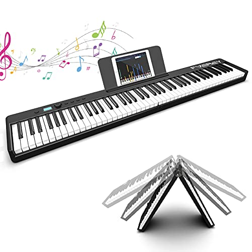 FVEREY 88 Key Foldable Digital Piano Keyboard,Full Size Semi Weighted Keys Portable Electronic Piano,Bluetooth Digital Keyboard with MIDI,Speakers,Sustain Pedal,Piano Bag for Beginners Kids Adults