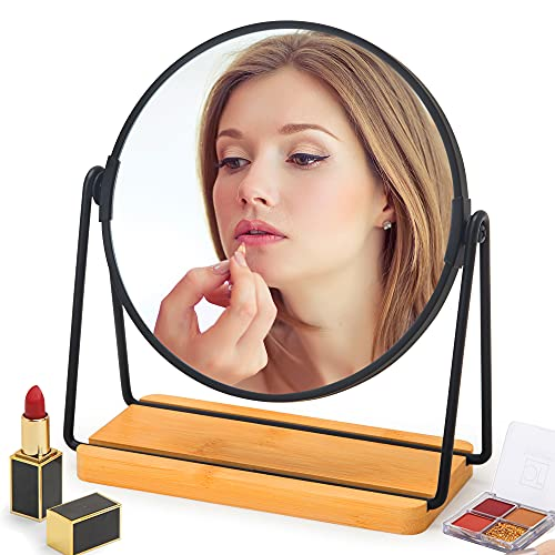 SGUTEN Table Desk Mirror for Makeup, Small Portable Travel Makeup Mirror with Stand, Table Top Vanity Mirror for Desk, Double Sided 1X/5X Magnifying Mirror with Metal Bracket & Natural Bamboo Base
