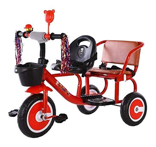 YANGYUAN Triciclo infantil puede tomar un biplaza cochecito de los bebés y los gemelos de dos plazas 2-6 años de edad con cinturón de seguridad de Bell retro Diseño del manillar con borla asiento cómo