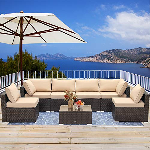 LayinSun 7 Piece Patio Furniture Sets, Outdoor Sectional Patio Conversation Set Wicker Rattan Sofa Chair Set with Cushion and Glass Table (Beige)