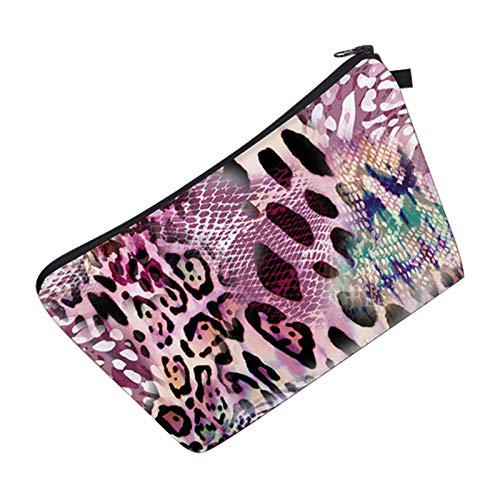 FanYu Cosmetic Bag for Women, Adorable Roomy Makeup Bags Travel Waterproof Toiletry Bag Accessories Organizer (Pink Leopard )