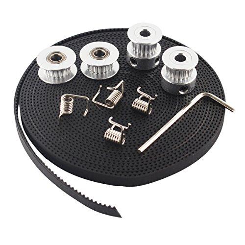Yaootely 2X GT2 Riemenscheibe 20 Zaehne Bohrung 5mm + GT2 6mm Zahnriemen & 2X Spannrolle 4X Spanner Fuer 3D Drucker RepRap