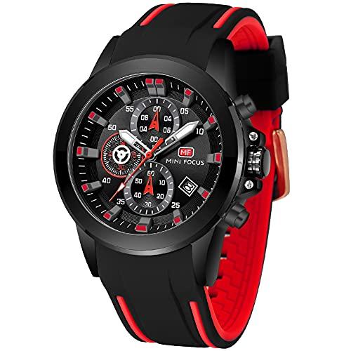 FILIEKEU - Reloj de cuarzo analógico impermeable para hombre, negro (C-BLACK)