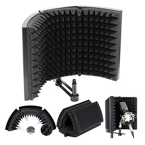LCZ Mikrofon Isolation Foam, Faltbare Studio Mic Schalldämmmaterial Foam Folding Akustische Isolation Panel Platziert Auf Dem Tisch Oder Montiertem Standfuß Für Recording-Equipment Studio