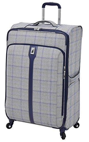 LONDON FOG Knightsbridge Hyperlights Softside Expandable Spinner Luggage, Grey/Navy Plaid, Checked-Large 29-Inch