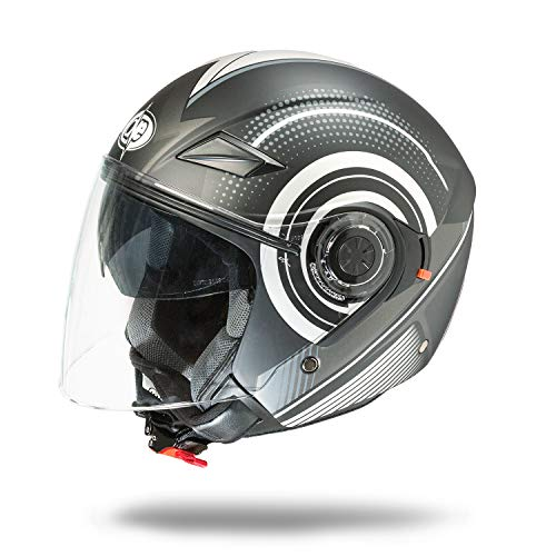 One by Camamoto - Código 77446040 - Casco alfa jet de doble visera homologado para moto/scooter de color negro/gris, talla (xs) circunferencia de sien (53-54 cm)