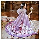 Abrigo femenino de Hanfu Chino tradicional elegante púrpura Han Tang Song Ming Dynasty Antigua Danza Folclórica Capa de Invierno (color: abrigo, tamaño: talla única)