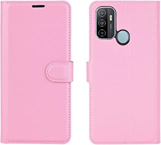 CASE BOX Flip wallet with stand function phone case for OPPO A53 2020 (Pink)