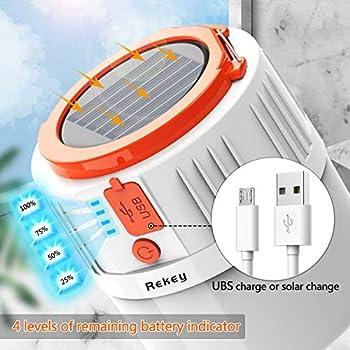 Rekey Lampe de camping LED rechargeable par USB, lampe solaire, lampe de tente portable, étanche, lampe de jardin pour coupure de courant, randonnée, urgence, pannes et ainsi de suite.