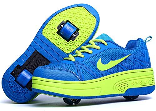 Zapatillas con Ajustable Rueda para niños niña Zapatos con Dos Ruedas Automática Calzado de Skateboarding Deportes de Exterior Patines en Línea Aire Libre (Azul Dos Ruedas, Numeric_35)