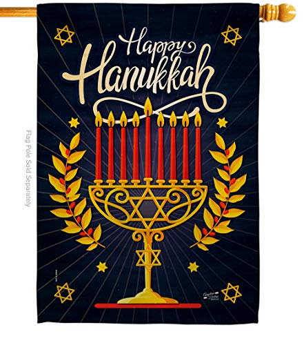 Angeleno Heritage Happy Hanukkah House Flag Winter Candle Bonsai Menorah Jewish Chanukah David Decoration Banner Small Garden Yard Gift Double-Sided, 28' x 40', Thick Fabric