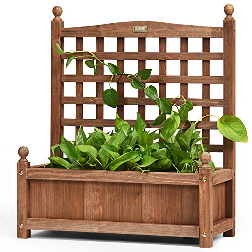 CASART. Wooden Rectangular Trough Planter Stand with Trellis Panel, Outdoor Indoor Flowers Climbing Plants Rack for Garden, Balcony, Porch