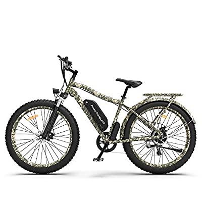 """AOSTIRMOTOR Electric Mountain Bike with48V 11.6AH Removable Lithium Battery,750W Motor, 26"""" 4.0 inch Ebike,Fat Tire Ebike with Rack,Electric Bicycle for Adults (Camouflage)"""