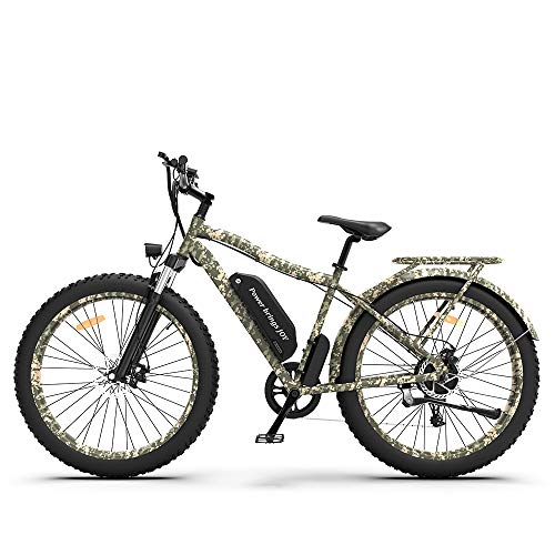 AOSTIRMOTOR Electric Mountain Bike with48V 11.6AH Removable Lithium Battery,750W Motor, 26' 4.0 inch Ebike,Fat Tire Ebike with Rack,Electric Bicycle for Adults (Camouflage)