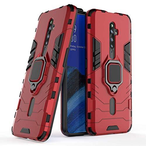 MRSTER Oppo Reno2 Z Hülle 360 Grad Drehbar Ringhalter Cover TPU Handyhülle 2 In 1 Plastic Silicone Hülle Heavy Duty Schutz Hybrid Stoßfest Schutzhülle für Oppo Reno 2 Z. HB Red