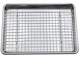 Checkered Chef Stainless Steel Quarter Sheet Pan and Rack Set - 9.5 x 13 inches - Heavy Duty Non...