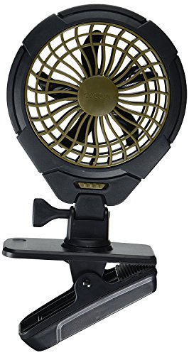 Treva 5 Inch Battery Powered Clip Slim and Portable Cooling Fan with Clamp for Travel, Outdoor,Camping, Car, Office Desk, Baby Stroller - Multi-Directional Rotating and Adjustable Head, Khaki