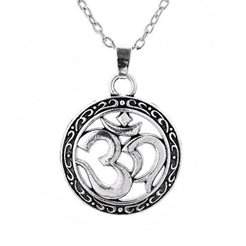 Lemegeton - Colgante Redondo con símbolo de hindúismo, AUM OM Ohm, Amuleto Talisman para la Paz, joyería Vintage