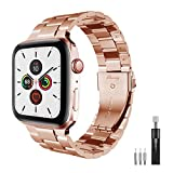Smartwatch Bands Compatible with Apple Watch Band 38mm/40mm/42mm/44mm, Elimxing Elegant Stainless Steel Replacement Strap for Apple Watch Hermes Nike+ iWatch series SE/6/5/4/3/2/1 (Rose-gold, 42/44mm)