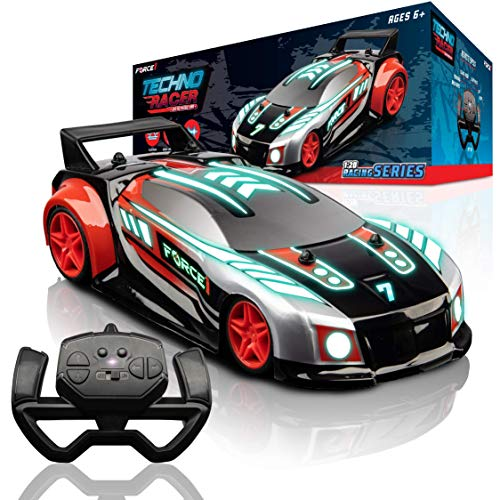 Force1 Techno Racer Remote Control Car for Kids - LED Light RC Car, High Speed Race Drift RC Car Toy with Music, Toy Car with Engine Sounds, Light Up Car Shell, Remote Control, Rechargeable, USB (Red)