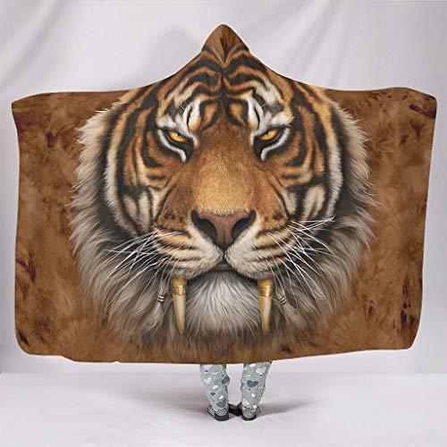 Manta con capucha de piel de tigre, muy suave, para hombres y mujeres, color blanco, 150 x 200 cm
