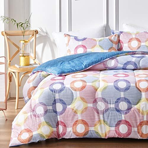 Uozzi Bedding Queen Comforter Set with Colorful Circles Red Yellow Navy Purple, 100% Microfiber Hypoallergenic Duvet Insert 88x88 Bedding Set