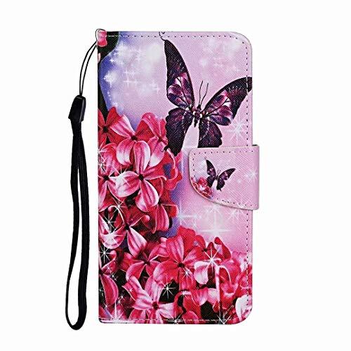 Funda para iPhone XR, a prueba de golpes, de piel sintética de alta calidad, con función atril magnética, para iPhone Xr Flor roja mariposa iPhone Xr