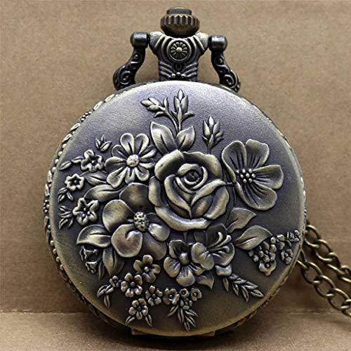XJJZS Reloj de Bolsillo de Cuarzo con Flores florecientes Retro, Reloj con Colgante de Bronce, Reloj con números, Collar, Reloj para Mujer, Dama con Cadena
