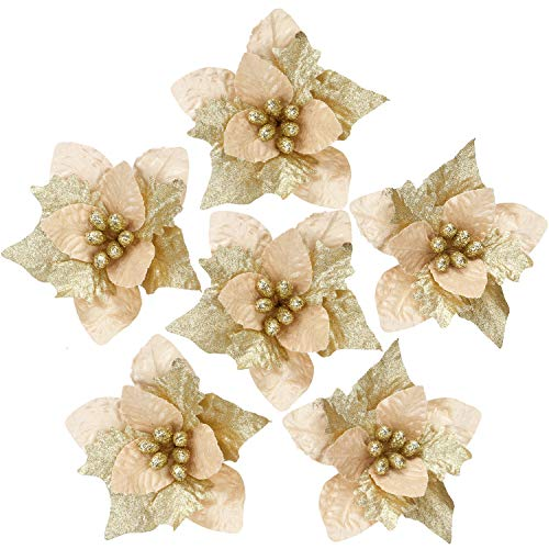 Sea Team 6-Pack Artificial Glitter Poinsettia Christmas Flower Ornaments Tree Decorations, 10-inch, Gold