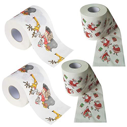 THEE Frohe Weihnachten Toilettenpapier WC Papier Wohnzimmer Dekoration Weihnachtsmann WC-Rolle Papier 4 Stück,5#
