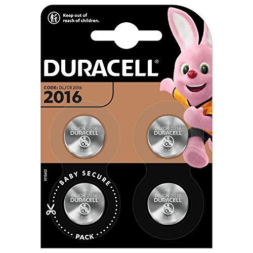 Duracell Specialty 2016 Lithium-Knopfzelle 3V, 4er-Packung (CR2016 /DL2016) entwickelt für die Verwendung in Schlüsselanhängern, Waagen, Wearables und medizinischen Geräten