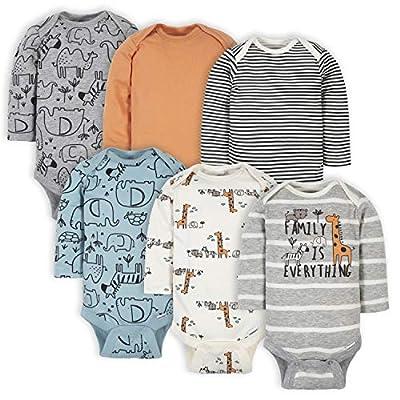 Gerber Baby Boys' 6-Pack Long-Sleeve Onesies Bodysuit, Jungle Blue, 0-3 Months from Gerber