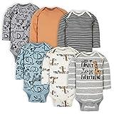 Gerber Baby Boys' 6-Pack Long-Sleeve Onesies Bodysuit, Jungle Blue, 0-3 Months