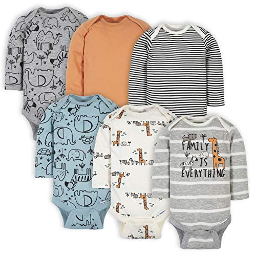 Gerber Baby Boys' 6-Pack Long-Sleeve Onesies Bodysuit, Jungle Blue, 3-6 Months