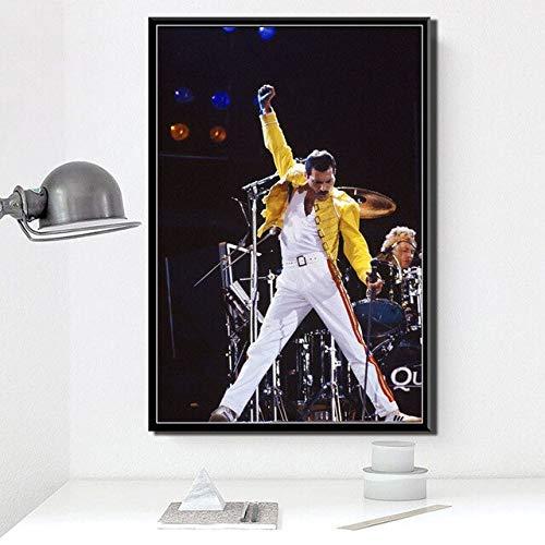 GBB Freddie Mercury - Póster de estrella de música de rock bohemia e impresiones en lienzo para pared, cuadros decorativos para el hogar, 40 x 60 cm, sin marco YF480-17