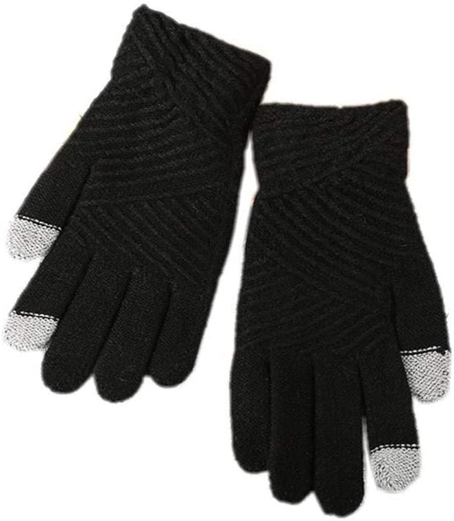 New Fashion Winter Autumn Women Men Touch Screen Glove Full Finger Warm Mitten - (Color: Black)