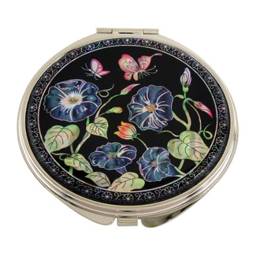 Mother of Pearl Blue Morning Glory Flower Design Double Compact Magnifying Cosmetic Makeup Purse Beauty Pocket Mirror by Antique Alive