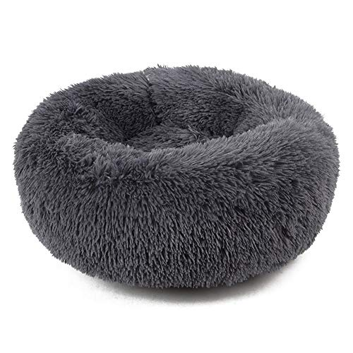 YSJ LTD Huisdier-Nest, Super Soft Round hondenbed wasbaar lange pluche hondenmand Deep Sleep Dog House Velvet Mats Sofa for Hondenmand Hondenbed Medium zwart