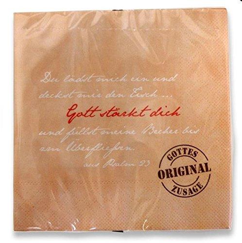 Christliche Geschenkideen °°Vintage-Serie Gottes Original Zusage (Servietten Gott stärkt Dich)