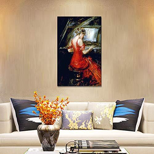 SADHAF Frauen moderne Kunst rote Malerei Home Decor Poster und moderne Kunst drucken A2 40x50cm
