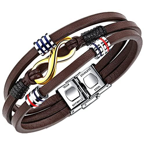 Bracciale da uomo in pelle nera Marrone intrecciata, Braccialetto con simbolo dell'infinito, Bracciali in vera pelle, ideale come regalo